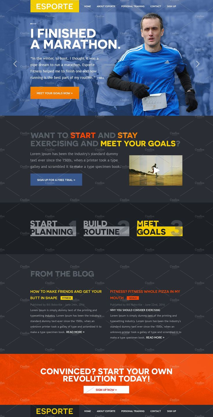Esporte Fitness Club PSD Template by Mosaic Web Market on @creativemarket