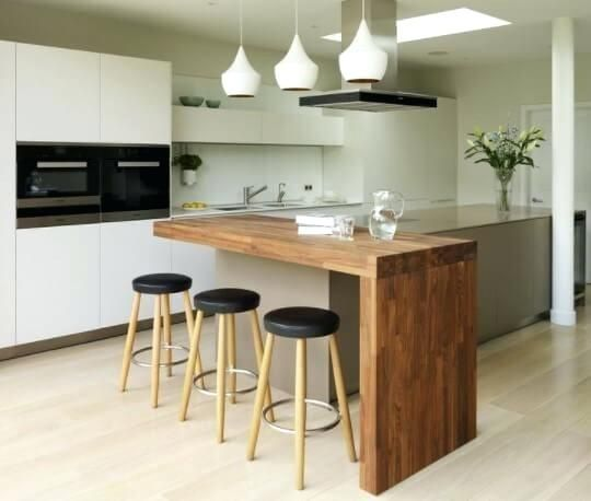 small kitchen island ideas with integrated breakfast bar