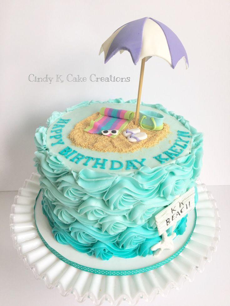 Beach Birthday Cake Buttercream Waves Beach Cake Made Cindy K Cake