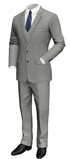 3 Piece grey suit in wool: Slim fit Notch lapel Pinstriped lining Light grey neck lining With waistcoat http://www.tailor4less.com/en/collections/custom-suit/premium-suits-collection/3-piece-grey-suit-in-wool