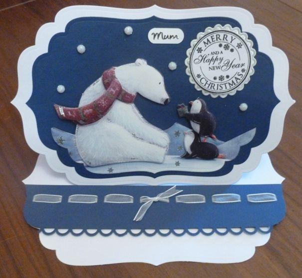 Hunkydory Handmade Christmas Card - polar bear for mum - easel card