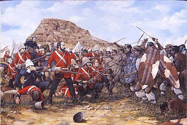 Battle of Isandhlwana, 22nd January 1879 by Brian Palmer. Last stand of the 24th South Wales Borderers at Isandhlwana during the Zulu War. The battle of Isandhlwana, a Zulu victory over the British forces on 22nd January 1879 about 100km north of Durban. Lord Chelmsford led a column of forces to seek out the Zulu army camped at Isandhlwana, while patrols searched the district. After receiving a report, Chelmsford set forth at half strength, leaving six companies of the 24th Regiment, two…