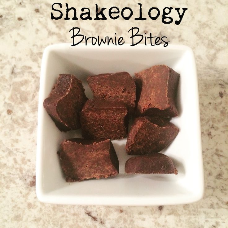 NO BAKE Chocolate Vegan Shakeology brownie bites  1 scoop Chocolate vegan Shakeology 1 tsp Coconut oil  Water   Mix Shakeology and coconut oil in a small bowl, start adding  small amounts of water until mix is pliable   Form small squares or balls  Refrigerate    These are so good and literally nothing bad about them, an easy way to satisfy your sweet tooth with a healthy option  Where else can you find a superfood packed brownie?