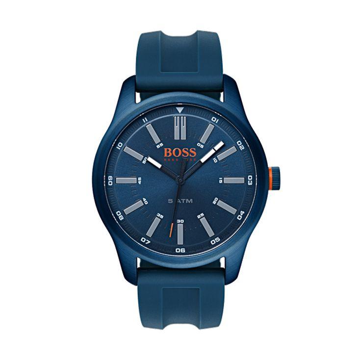 Ανδρικό ρολόι HUGO BOSS ORANGE 1550046 με μπλε καντράν με γκρι λεπτομέρειες & λουρί από μπλε σιλικόνη | HUGO BOSS ρολόγια ΤΣΑΛΔΑΡΗΣ στο Χαλάνδρι #boss #orange #μπλε #σιλικονη
