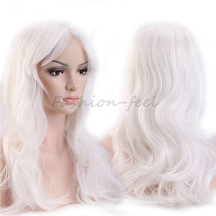 """19 """"48 센치메터 긴 곱슬 물결 모양의 합성 가발 가발 화이트 여성 의상 코스프레 매일 파티 드레스 100% 자연 머리 가발"""