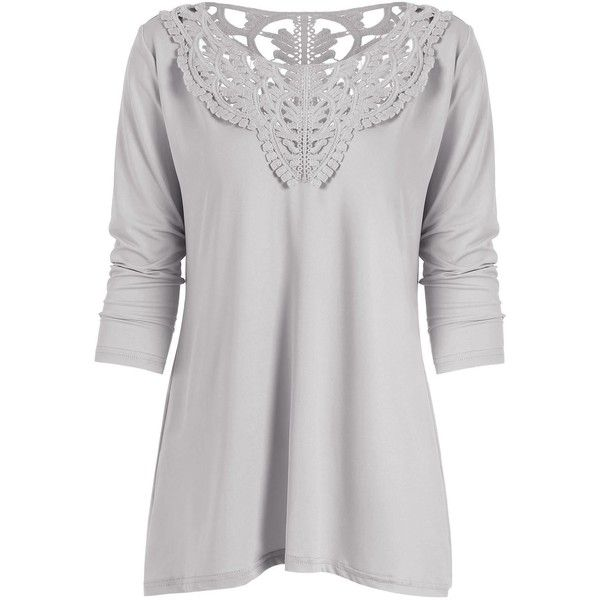 Long Sleeve Lace Insert Tunic T-Shirt (23 BAM) ❤ liked on Polyvore featuring tops, gray top, long sleeve tops, gray tunic, lace inset top and grey long sleeve top