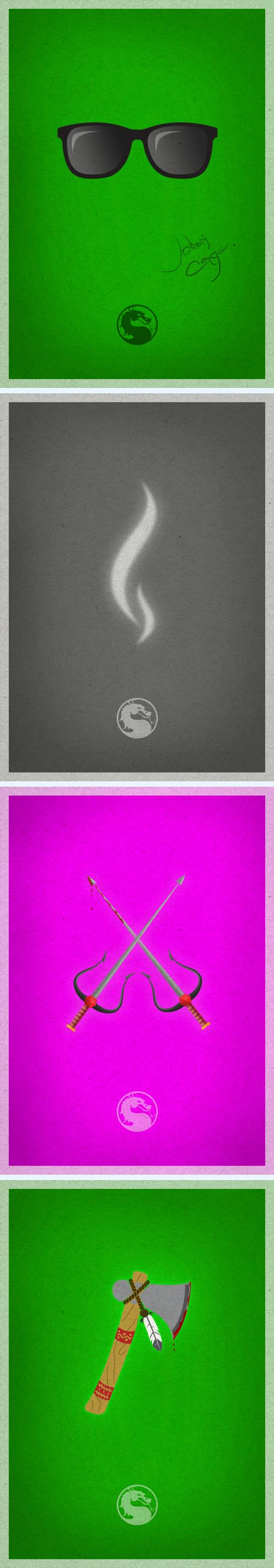 SET of minimalist posters of Mortal Kombat characters. Johnny Cage, Smoke, Mileena and Nightwolf. Follow me caiolabueno.tumblr.com