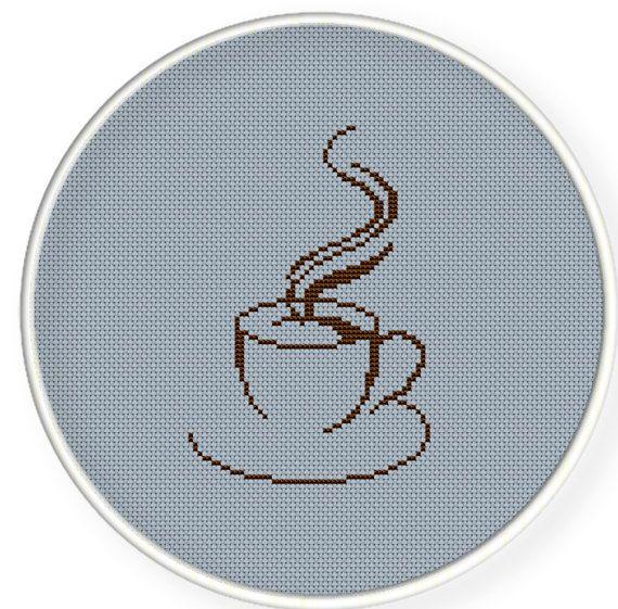 A coffee cup,Buy 4 get 1 free Cross stitch pattern Crossstitch by danceneedle, $3.50