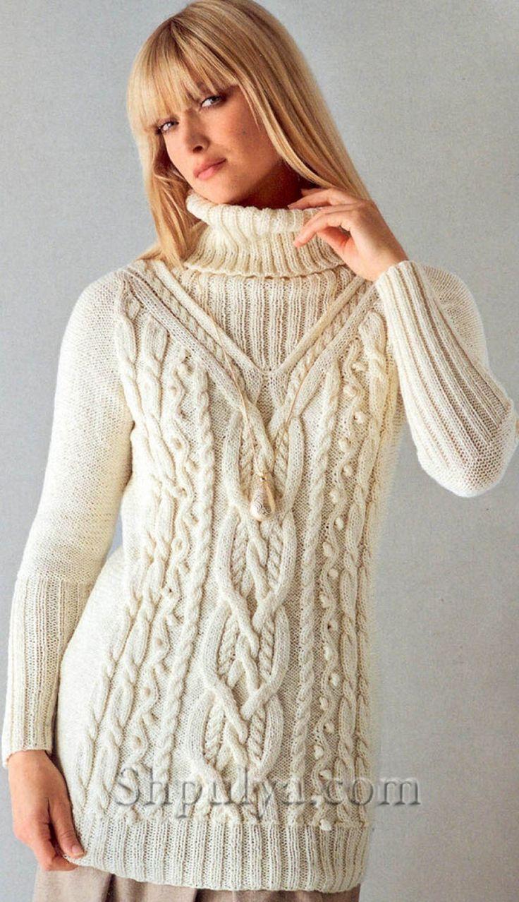Белый свитер с узором из кос и шишечек, вязаный спицами