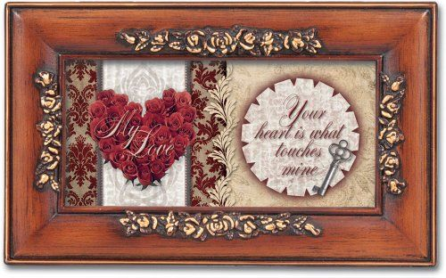 My Love Your Heart Faux Woodgrain Petite Rose Music Jewelry Box Plays Unchained…
