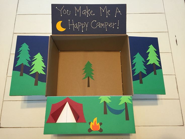 """""""You Make Me A Happy Camper"""" Care Package for my airman. Camping care package."""