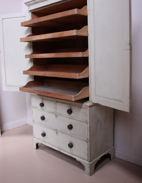english 19th century antique linen press cupboard -