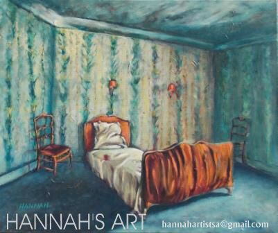 Artist: HANNAH, My bedroom, oil on canvas, 595 x 495, SOLD