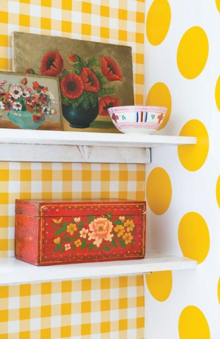 Room Seven Behang Geblokt Geel Wit