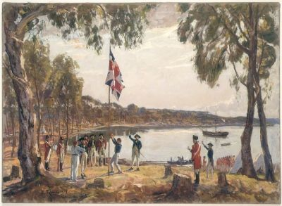 The Founding of Australia. By Capt. Arthur Phillip R.N. Sydney Cove, Jan. 26th 1788, Algernon Talmadge R.A, 1937. Courtesy State Library of ...
