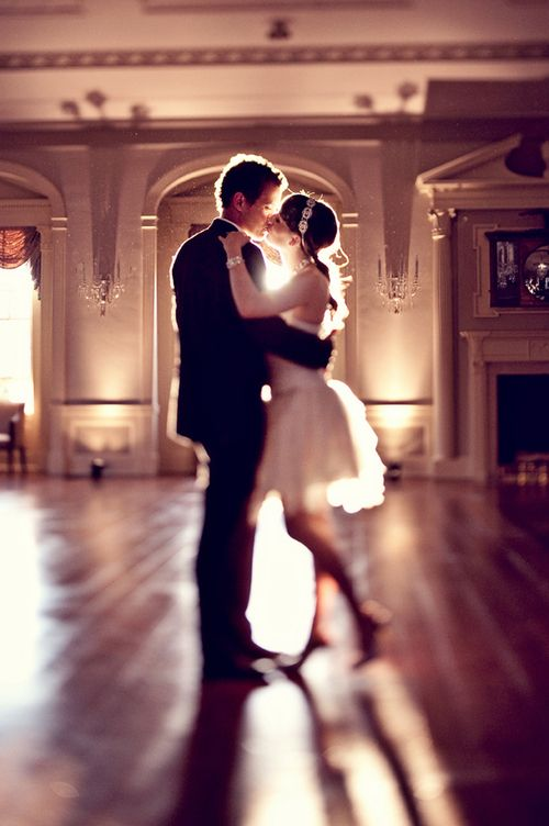 Love the look of this...possibilities.  Could be a first dance. A couple still enthralled with each other long after the rest of the party retired for the night.  A couple who knew each other but never felt that 'something' until they met, all dressed up, on the dance floor...