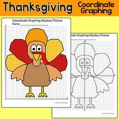 Practice plotting ordered pairs with this fun Thanksgiving turkey coordinate graphing mystery picture! This activity is easy to differentiate by choosing either the first quadrant (positive whole numbers) or the four quadrant (positive and negative whole numbers) worksheet.