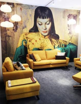 Tretchikoff wallpaper - my bedroom - update with more mustardy