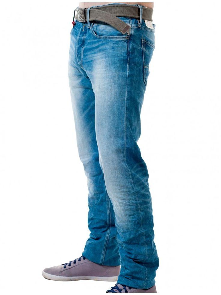 REPLAY Ανδρικό χαμηλοκάβαλο τζιν παντελόνι, ίσια γραμμή, πετροπλυμμένο. 136,00 €