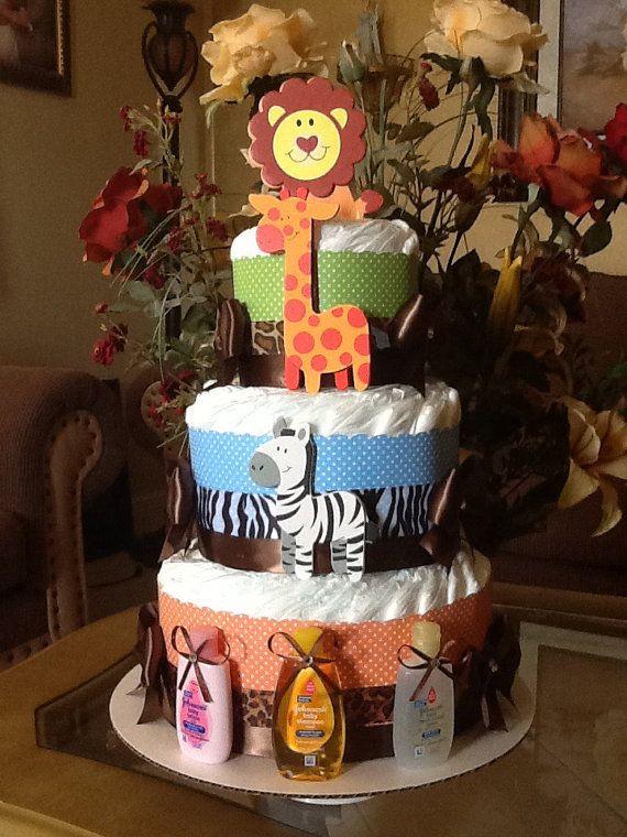 Safari gâteau de couches / Safari bébé douche / Boy par InspiredbyElena