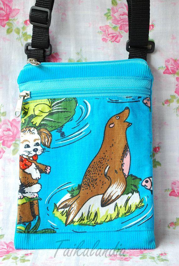 Turquoise Hand dyed Corduroy Messenger Bag - Turquoise Retro Fabric Shoulder Bag- Small Cross*body Bag