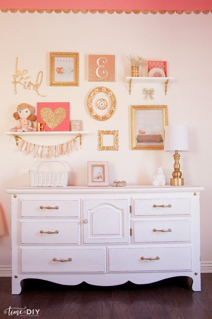 How to create and hang a cute gallery wall, perfect for a girls room or