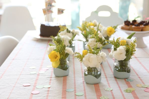 Babyfood jars dipped in paint- shower flowers