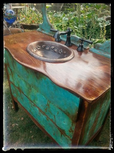 sk s copper patina and oak bath vanity, bathroom ideas, chalk paint, painted furniture, painting, woodworking projects