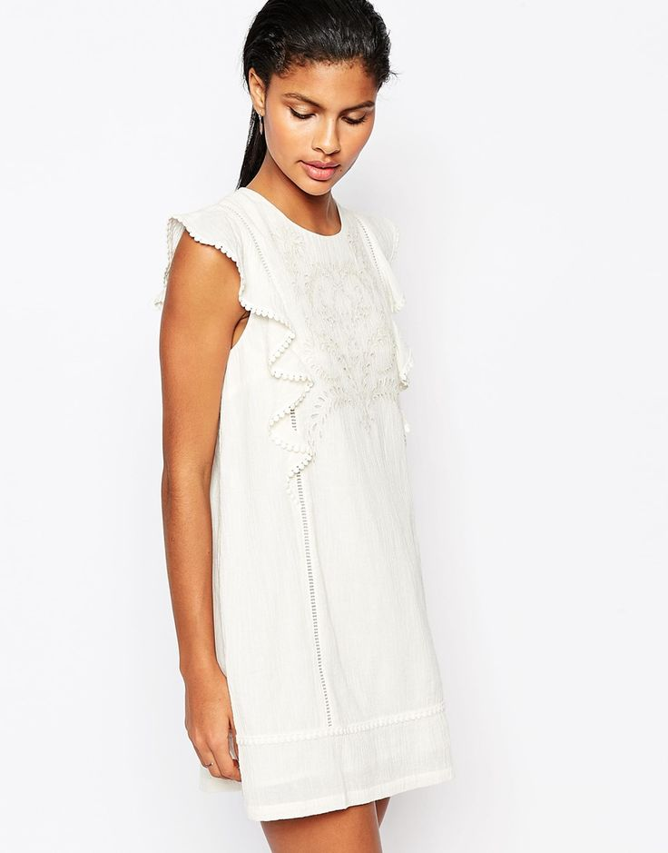 Moon River Embroidered Shift Dress with Ruffle