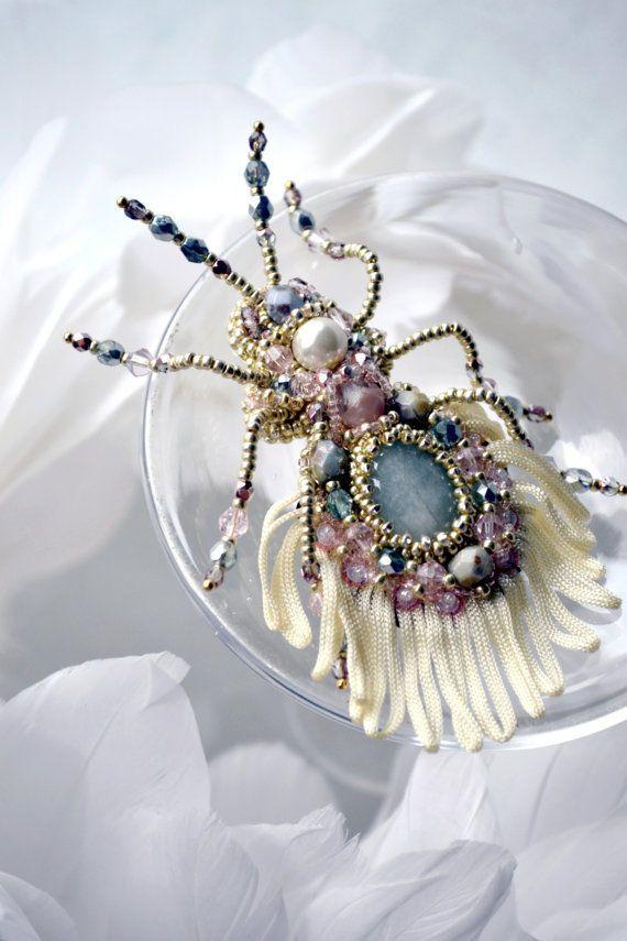 Bead embroidered beetle brooch #AgijaRezcova