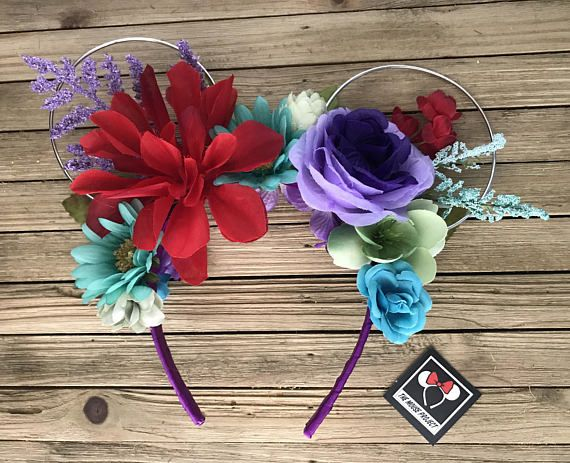 Ariel, The Little Mermaid Inspired Wire Mickey Ears with Floral Crown | Minnie Ears | Mickey Ears | Epcot Flower and Garden | Free Shipping