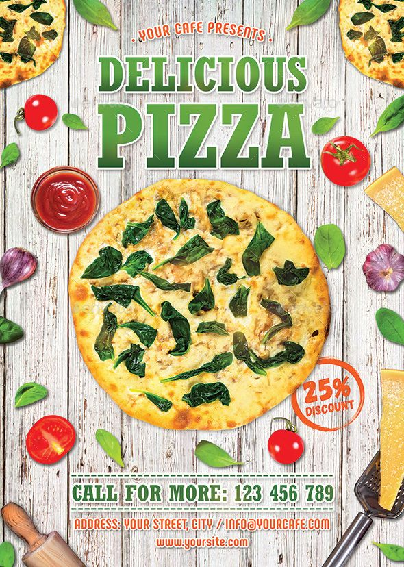 #Pizza #Flyer - #Restaurant Flyers Download here: https://graphicriver.net/item/pizza-flyer/19535993?ref=alena994
