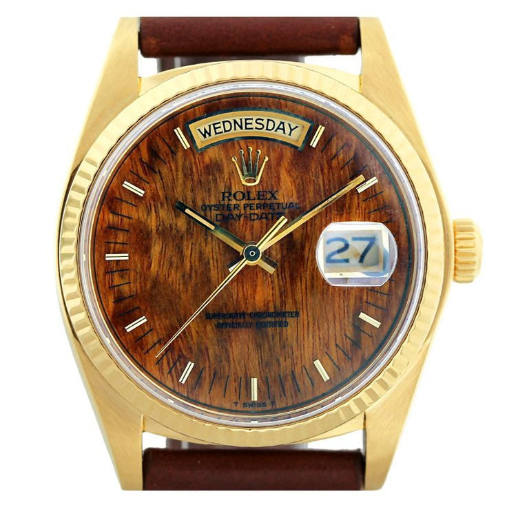 1stdibs | Rolex Yellow Gold Day-Date Wristwatch with Burled Wood Dial Library ceiling