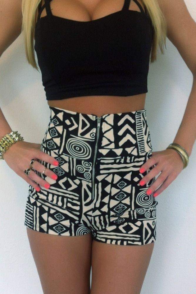 high rise tribal print shorts