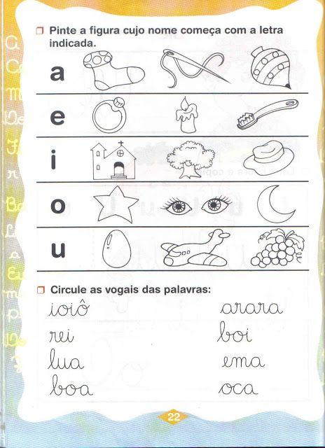 Atividades com vogais para Educação infantil ~ ESPAÇO EDUCAR