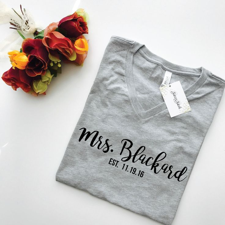 Must have gift item for a bachelorette party/ wedding or newly engaged friend.  A personal favorite from my Etsy shop https://www.etsy.com/listing/479336987/mrs-shirt-future-last-name-personalized