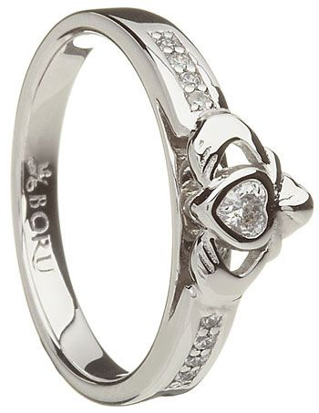 Stone Set Sterling Silver Claddagh Ring at Claddaghrings.com #valentinesdaygifts #silverrings $87.00