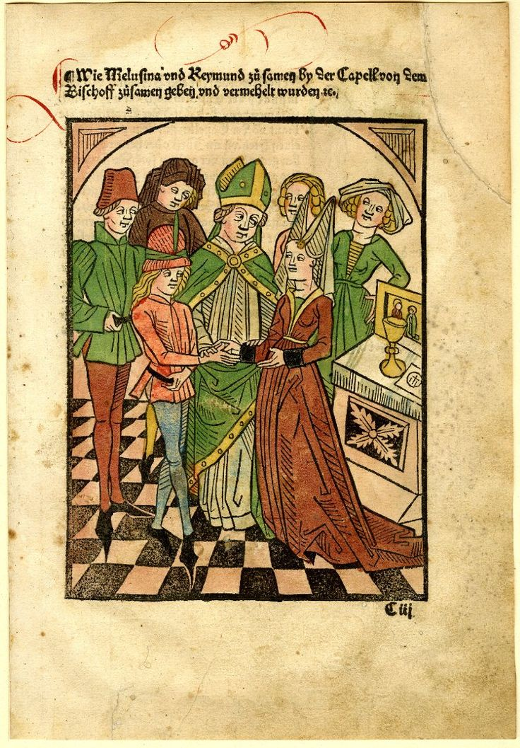 "Raymond and Melusina; sheet from ""Die Schöne Melusina"", printed by Matthias Hupfuff, Strasbourg.  C.1506  Woodcut with hand-colouring"