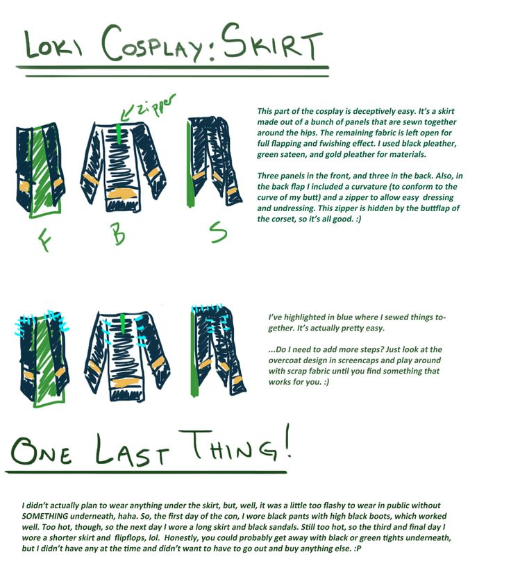 Loki cosplay guide: Skirt by SirLadySketch