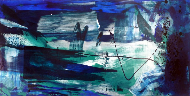 Geoff Hands - Abstract Sea iv 2013 acrylic on canvas 80X160cm