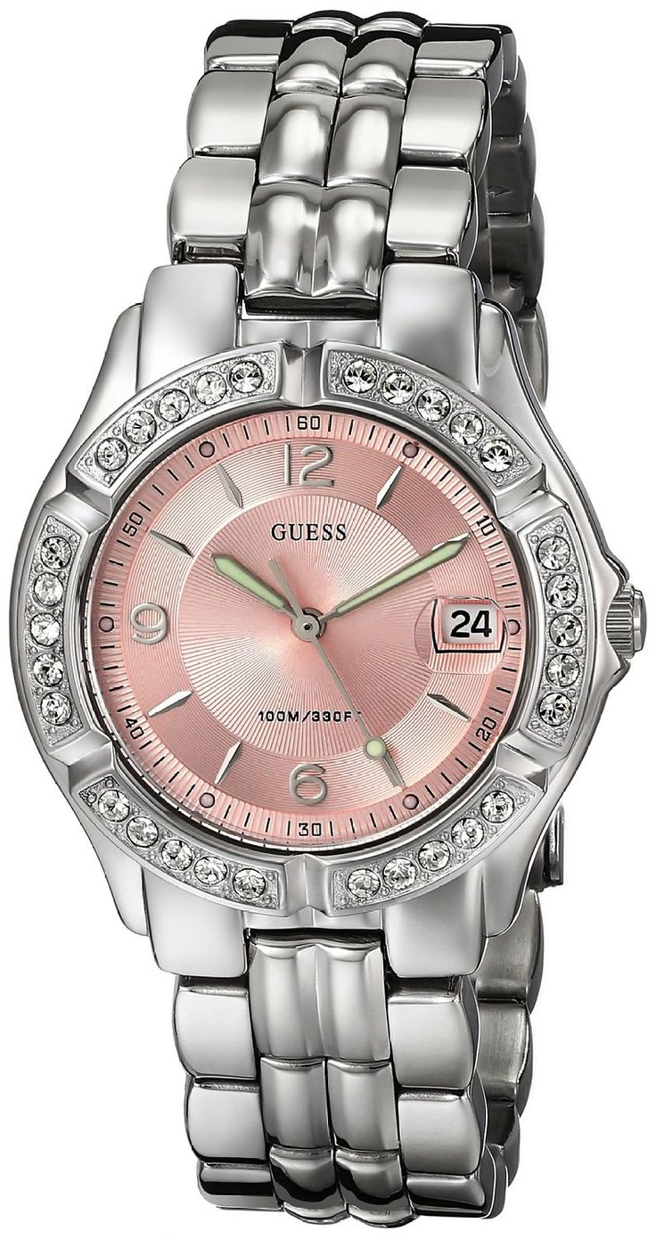 GUESS Women's G75791M 'Dazzling Sporty' Mid-Size Silver-Tone Watch >>> See this great watch.