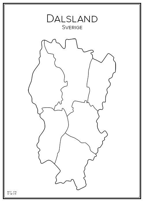 Dalsland. Landskap. Map. City print. Print. Affisch. Tavla. Tryck. Stadskarta.