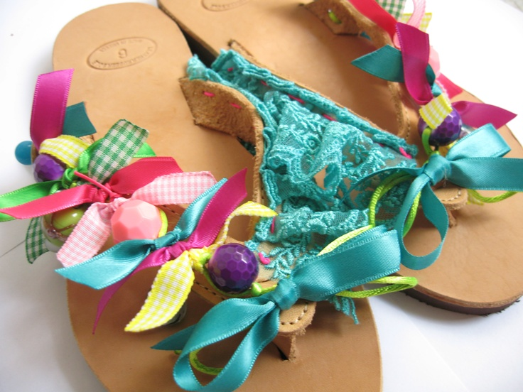 Summer leather sandals hanmade decorated with beads and ribbons.  https://www.facebook.com/media/set/?set=a.192437234130675.40449.150189205022145=3#!/pages/Kalliope-M/150189205022145