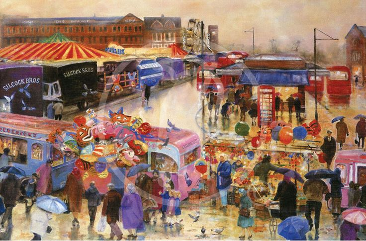 The fair used to come to Wigan and was situated on the old cobbled market car park right next to the bus terminus.  Happy days and happy memories the colour of the fairground lights sparkling in the night sky, Black Peas, Candy floss, Toffee Apples and Ice Cream!  This painting by Wigan artist David Barrow celebrates the days of the fair in Wigan town centre, the artwork presents a slightly different view of the fair than it's sister painting Fair Time Wigan.  Mesnes clock tower can be t...