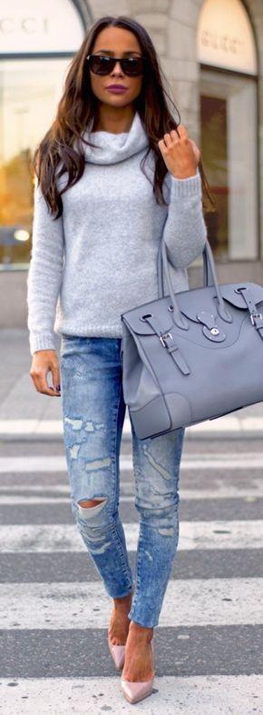 #fall #fashion / gray knit + ripped denim
