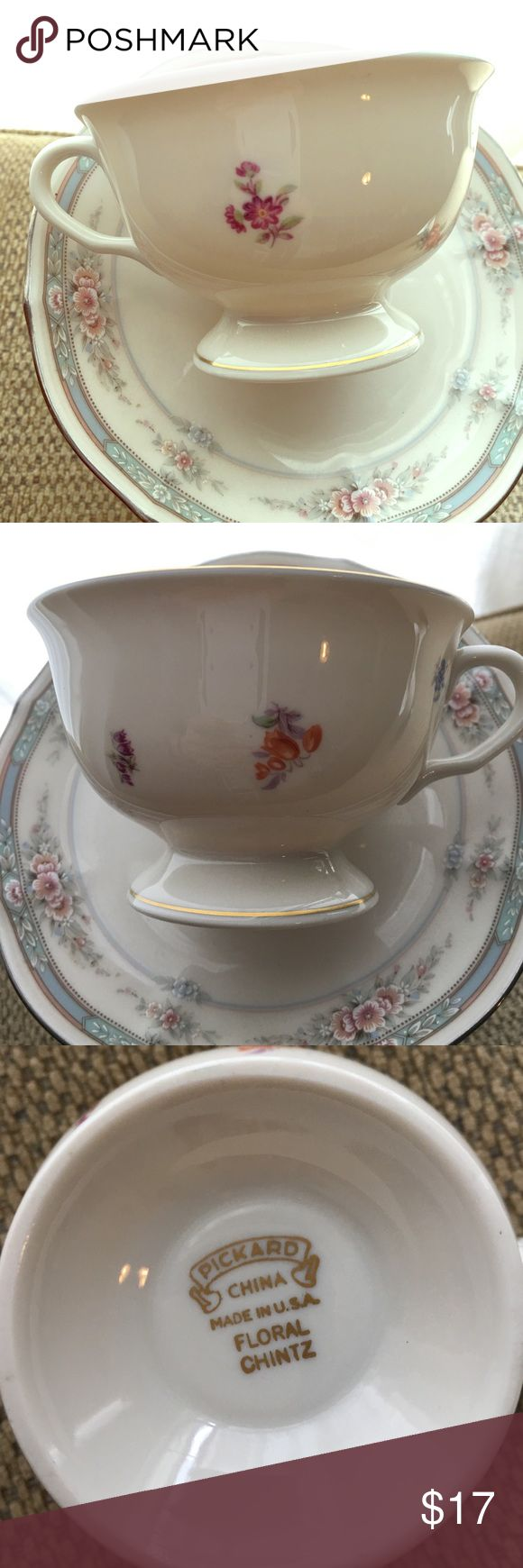 Anthro style vintage floral chintz China tea cup Super cute. Great to hold jewelry or your miniature Chihuahuas water. Brand photograph. Not anthropology but definitely their current style. This is a vintage piece in perfect condition.  Gold glit around the edges and handle. Not dishwasher safe. Anthropologie Other