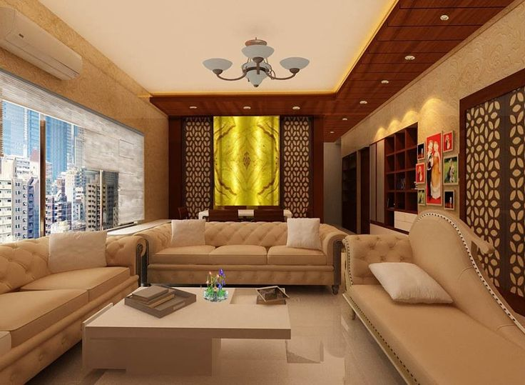 The Wooden Center Table Design With Very Simple Form Above Ceiling Back Light And Grooves Having Down Lights View Of Living Room