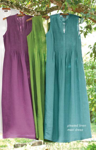 J Jill - pleated linen maxi dress