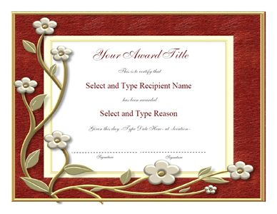 Blank Award Certificate Templates | Brown Frame Blank Award Template – Two