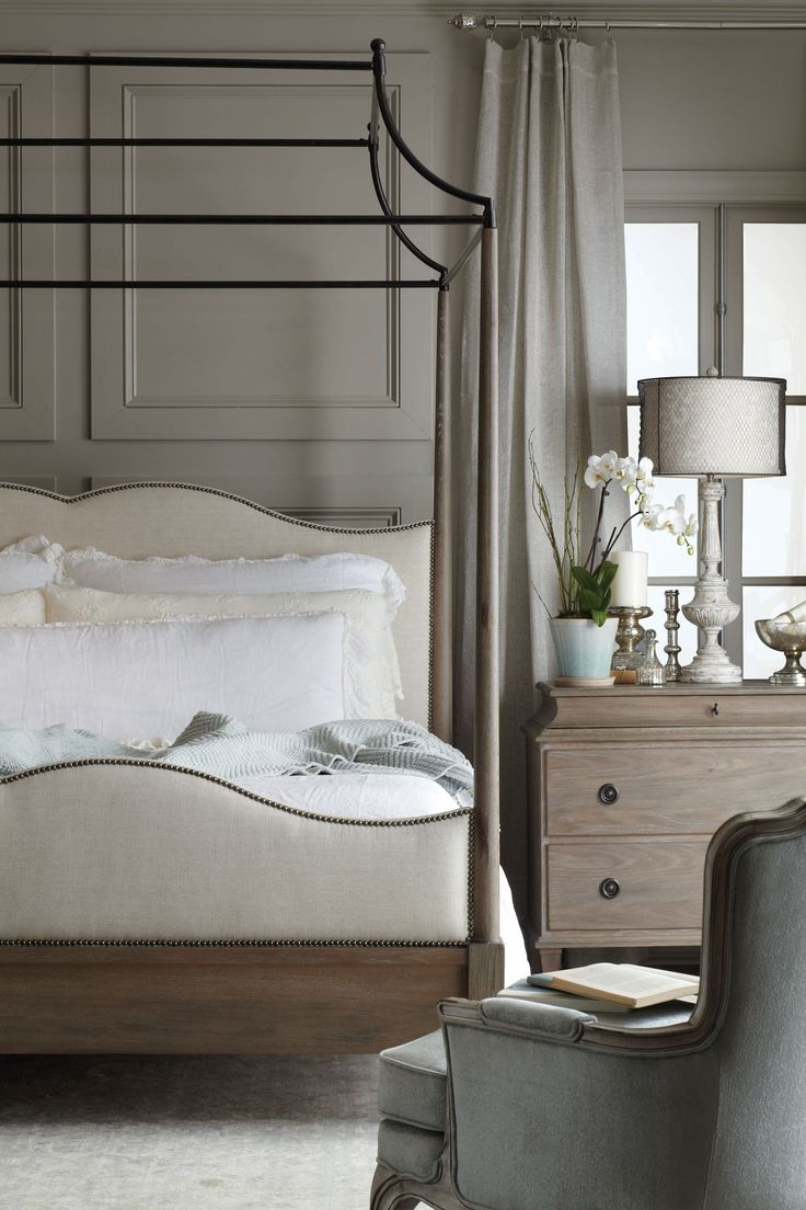 Patina style romantic bedroom - Auberge Canopy Bed And Chest Bedroom Bernhardt